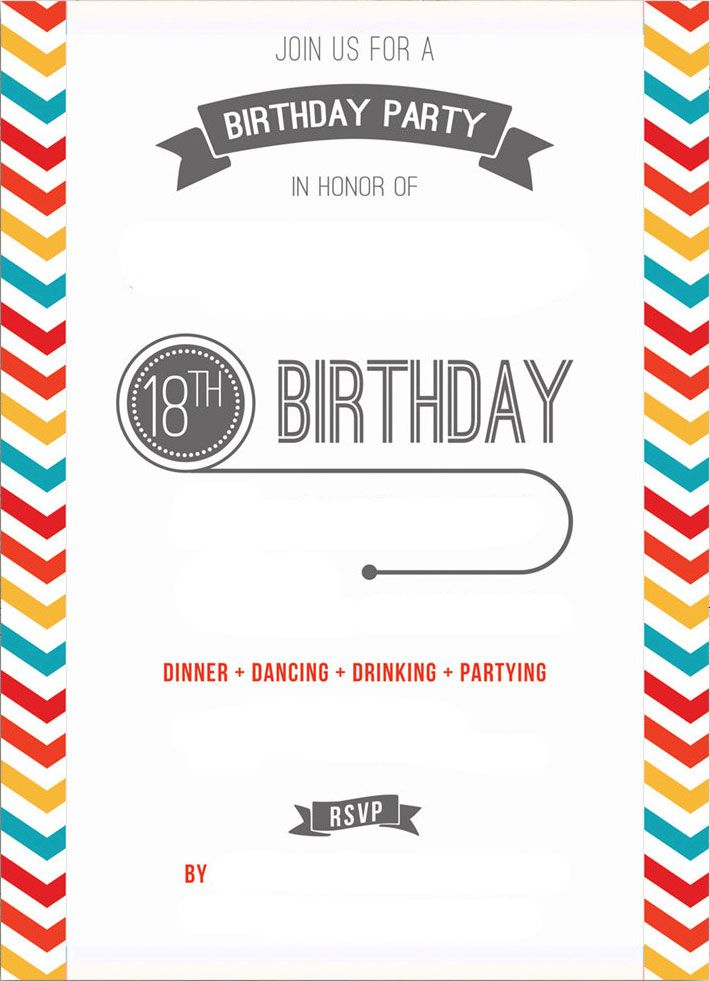 18th Birthday Invitation Templates Printable Free