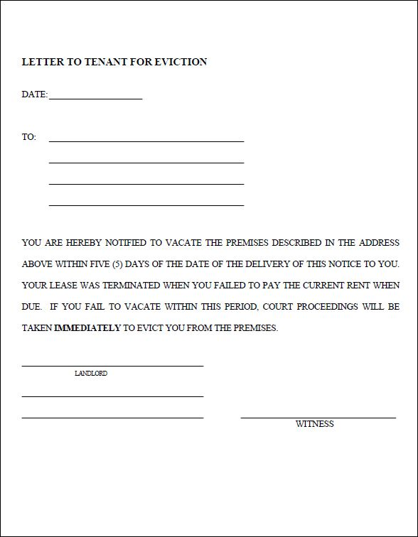 30 Day Eviction Notice Form Template