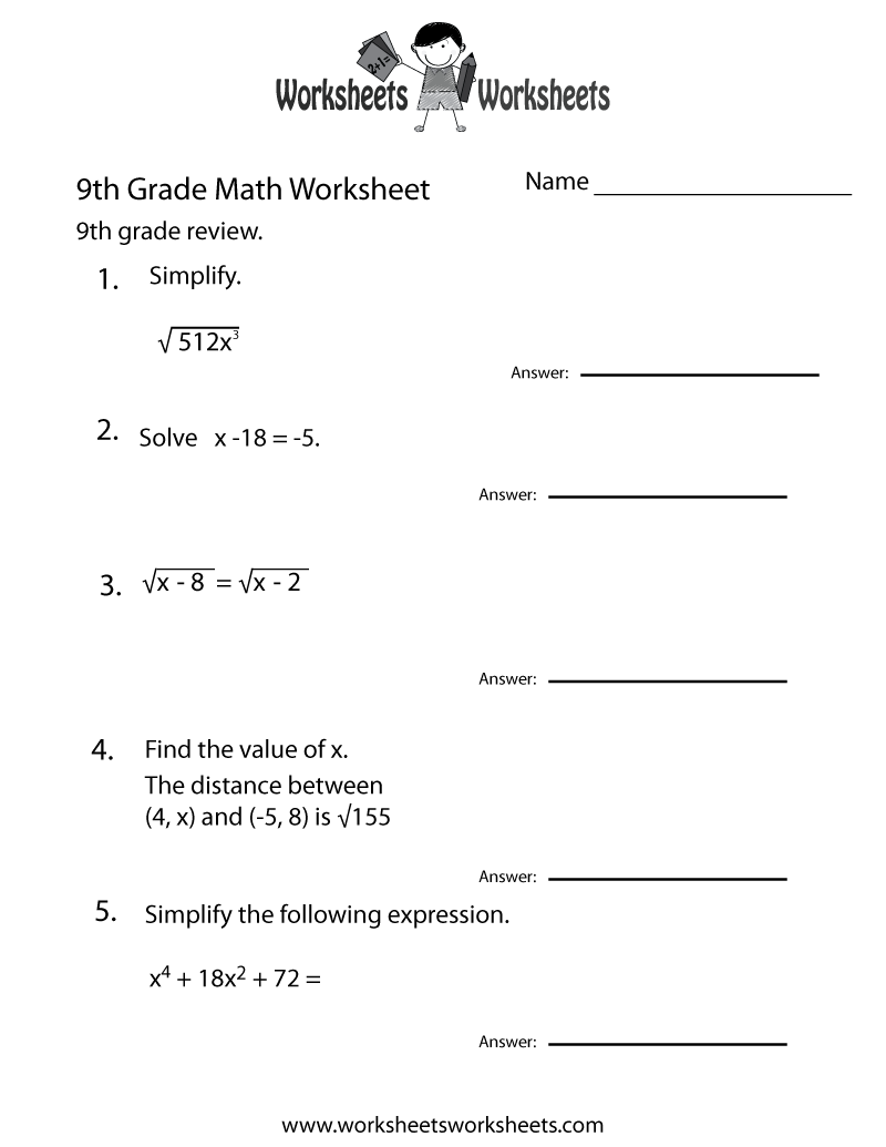 9th Grade Math Printable Worksheets