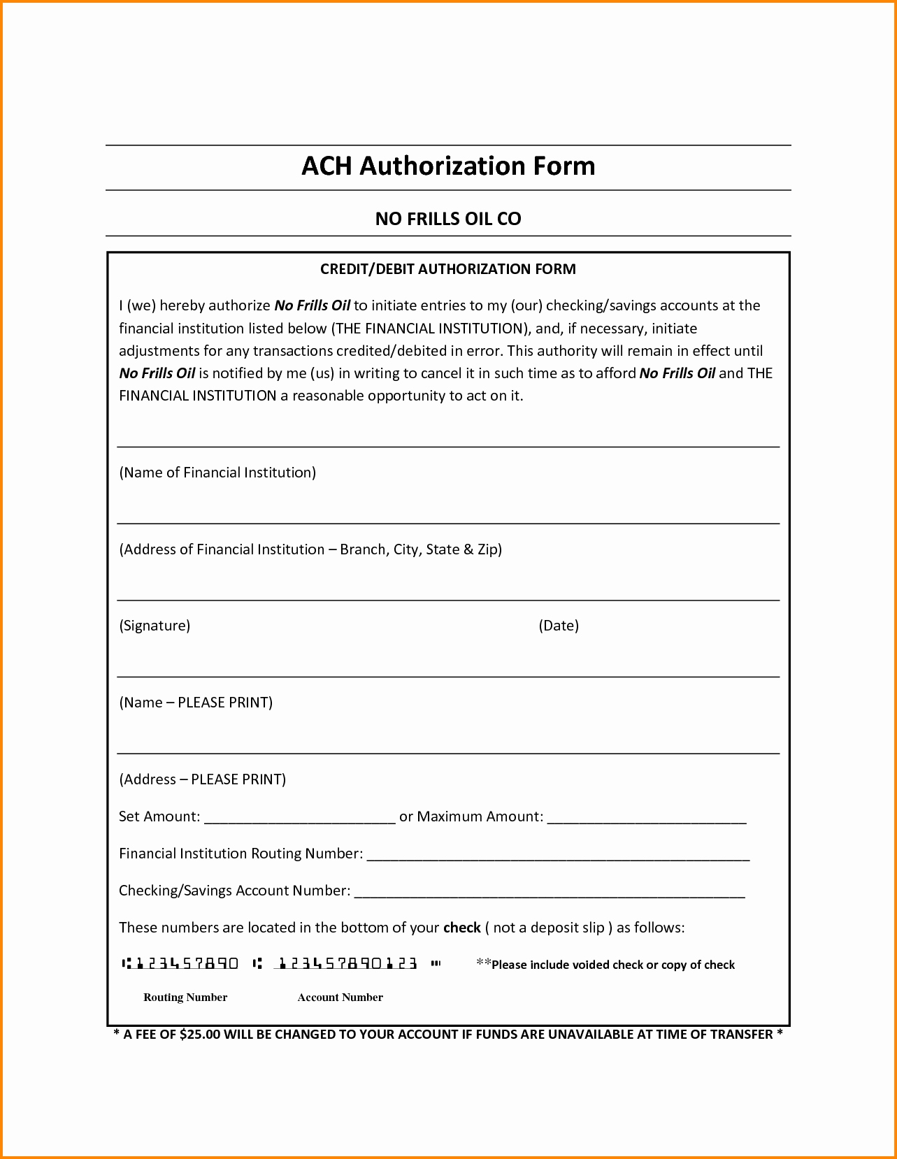Ach Form Template Inspirational Ach Authorization Form Template