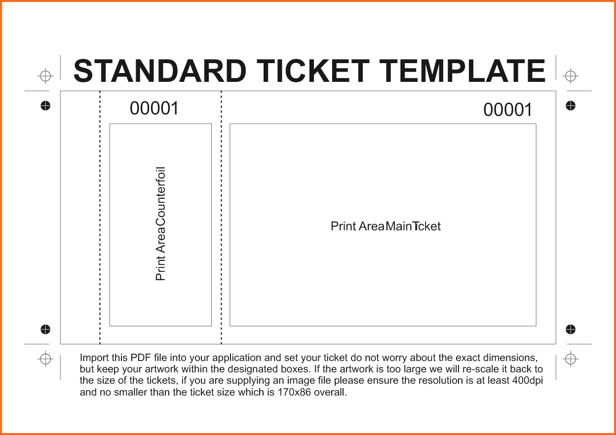 Admission Ticket Template Word