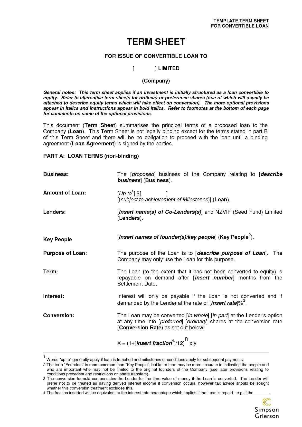 Angel Investor Agreement Template 101860 Template Term Sheet Template