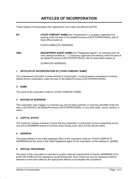 Articles Of Incorporation Template Pdf