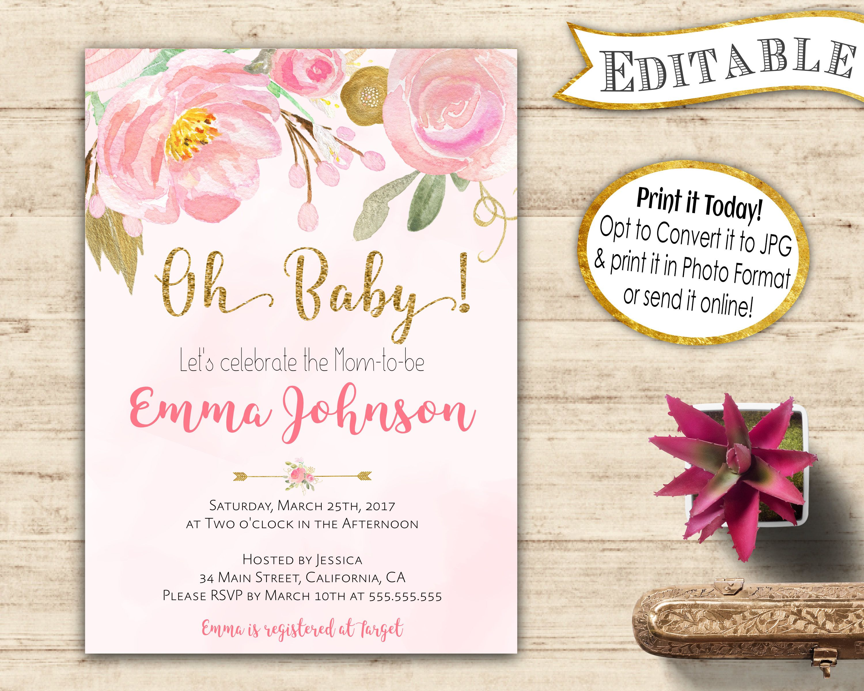 Baby Shower Invite Template Editable