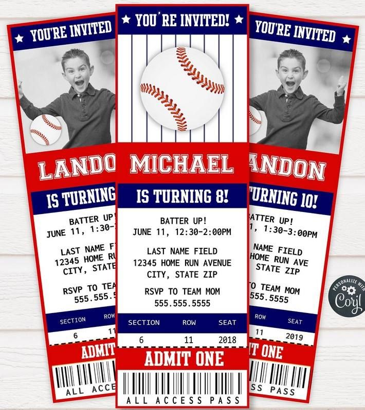 Baseball Ticket Template Invitation