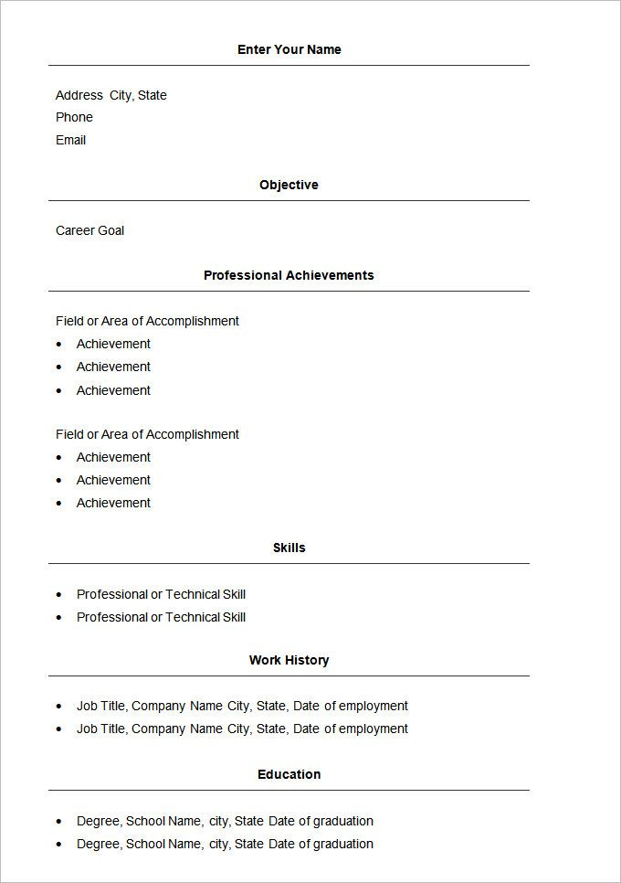 Basic Resume Format Download Free