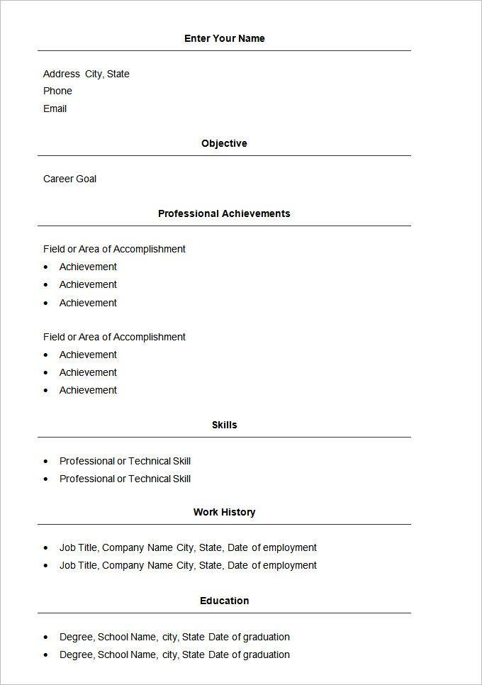 Basic Resume Format Download Free