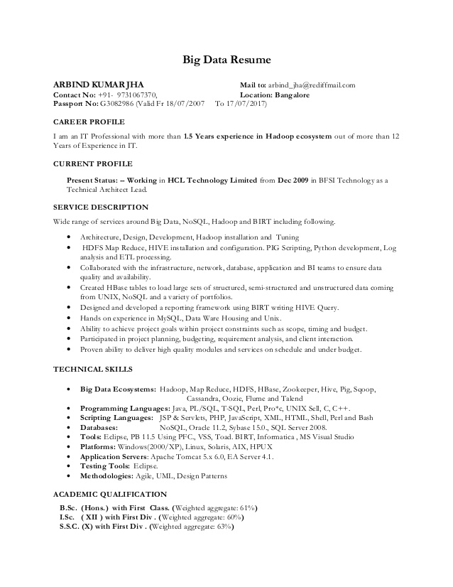 Big Data Hadoop Resume