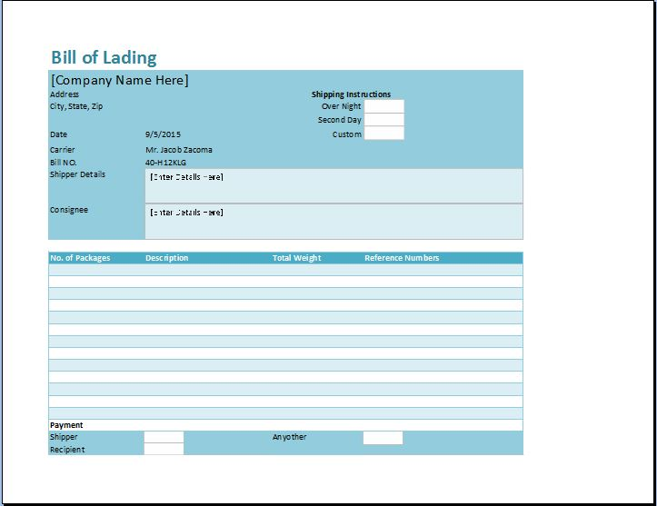 Bill Of Lading Template Excel