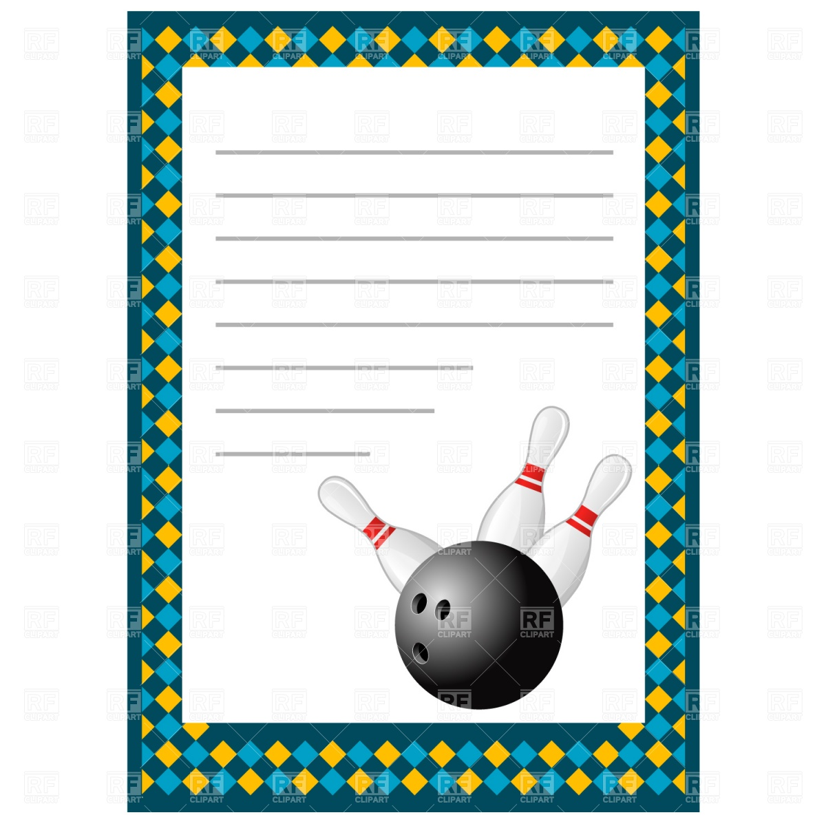 Blank Bowling Invitation Template