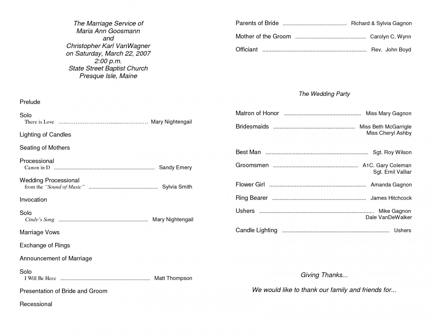 Blank Church Bulletin Templates