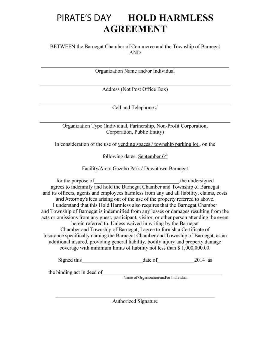 Blank Hold Harmless Agreement 74613 40 Hold Harmless Agreement Templates Free ? Template