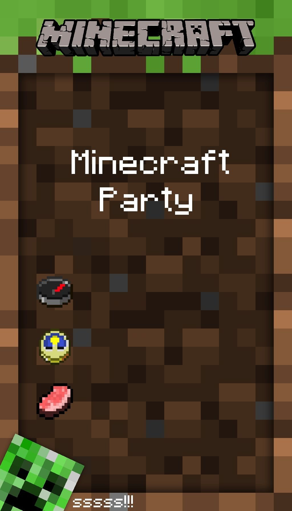 Blank Minecraft Invitation Template
