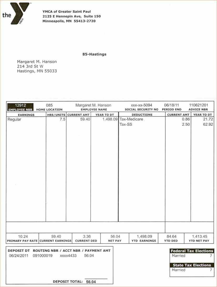 Blank Pay Stub Template Canada