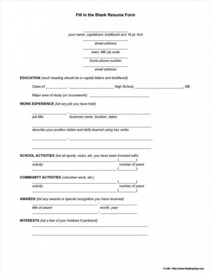 Blank Resume Format Pdf Free Download Recentresumes