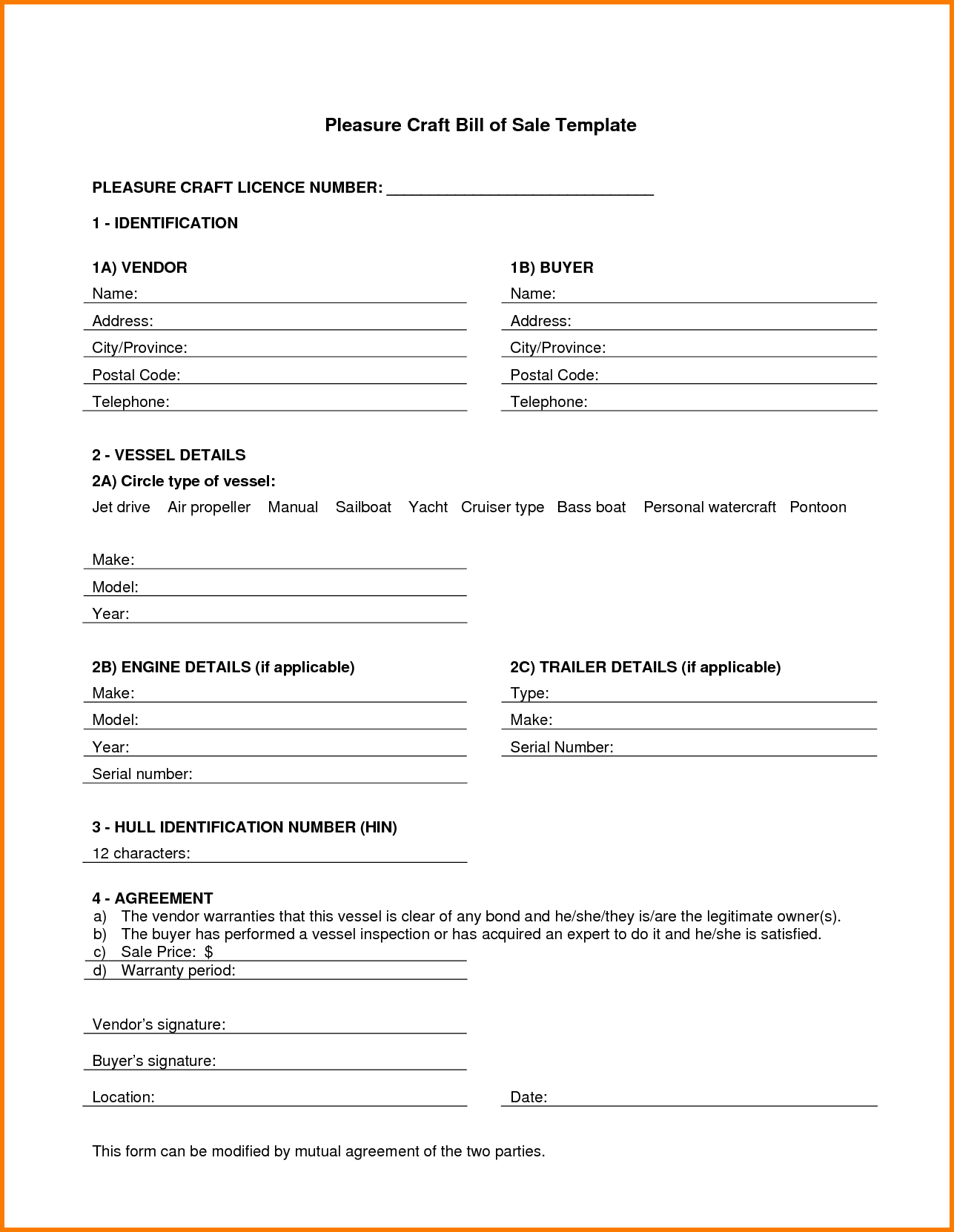 Boat Bill Of Sale Template Fillable Pdf