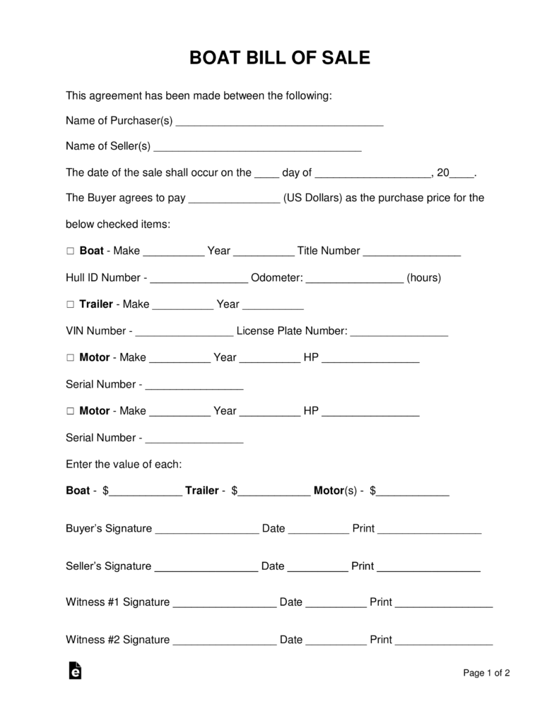 Boat Bill Of Sale Template Pdf
