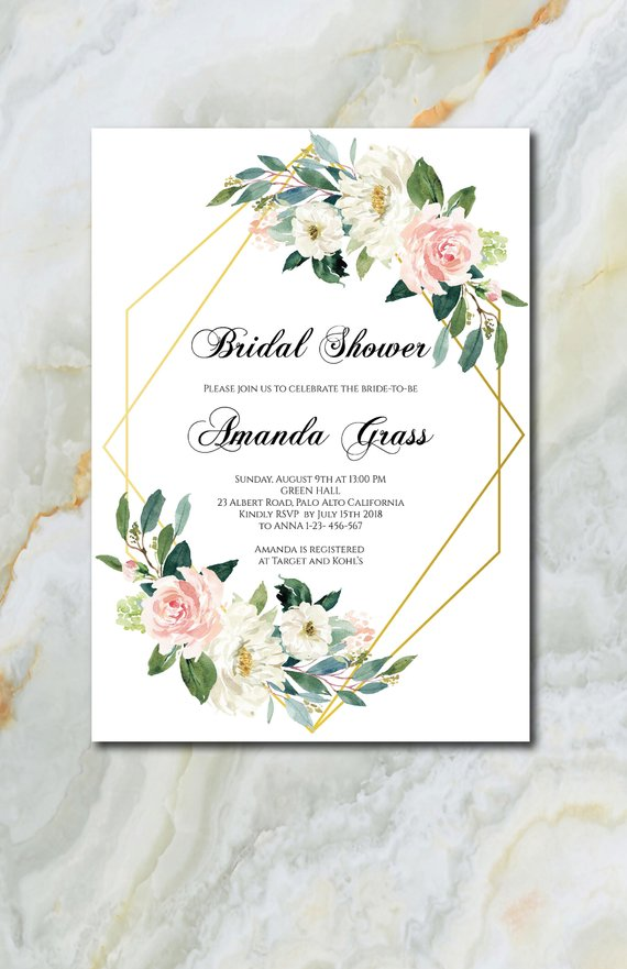 Bridal Shower Invitation Template Flowers