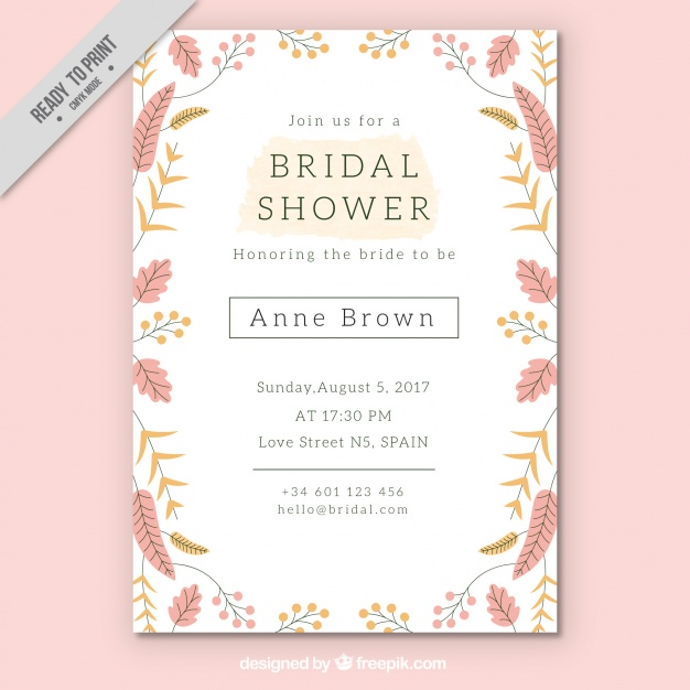 Bridal Shower Invitation Template Free
