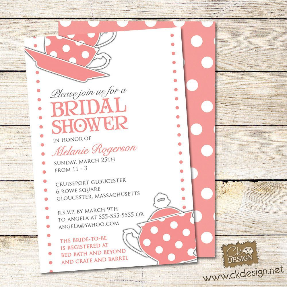 Bridal Shower Tea Party Invitations Templates