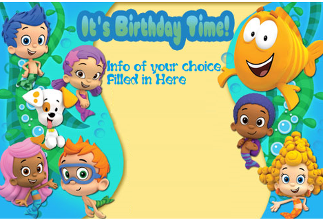 Bubble Guppies Invitation Template