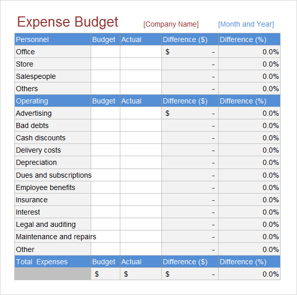 Budget Expense Sheet Template