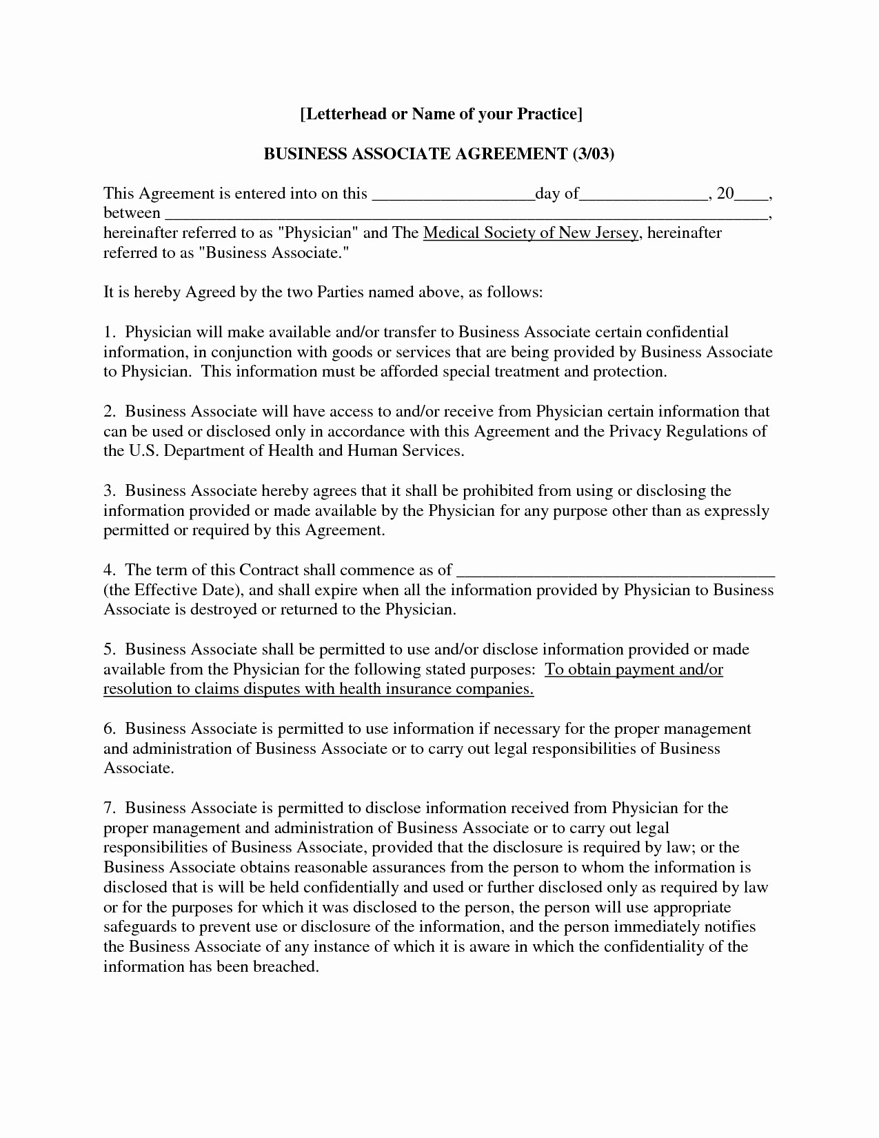 Business Associate Agreement Template 2019