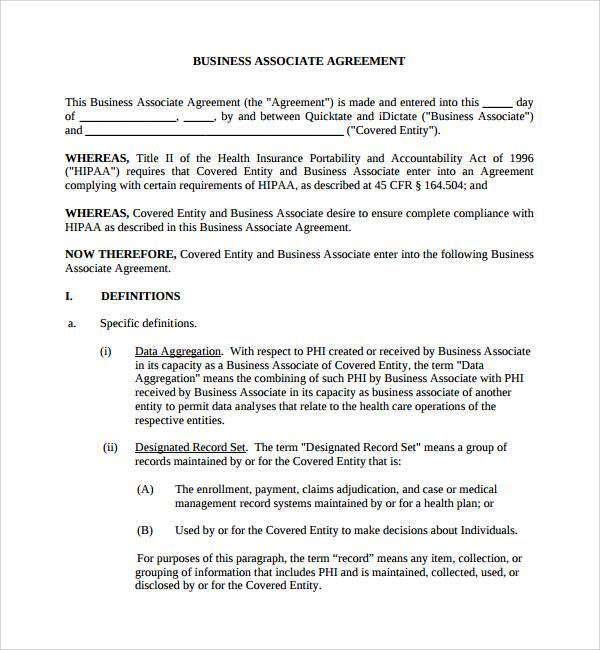 Business Associate Agreement Template Hipaa