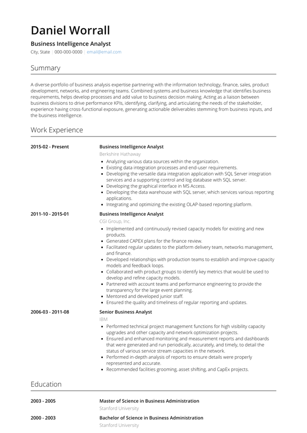 Business Intelligence Analyst Resume Sample