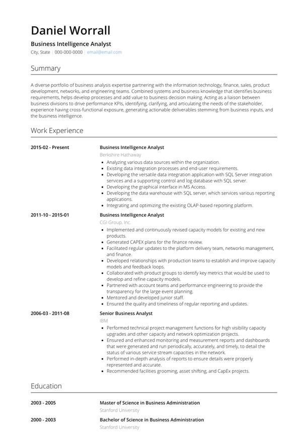Business Intelligence Analyst Resume Sample