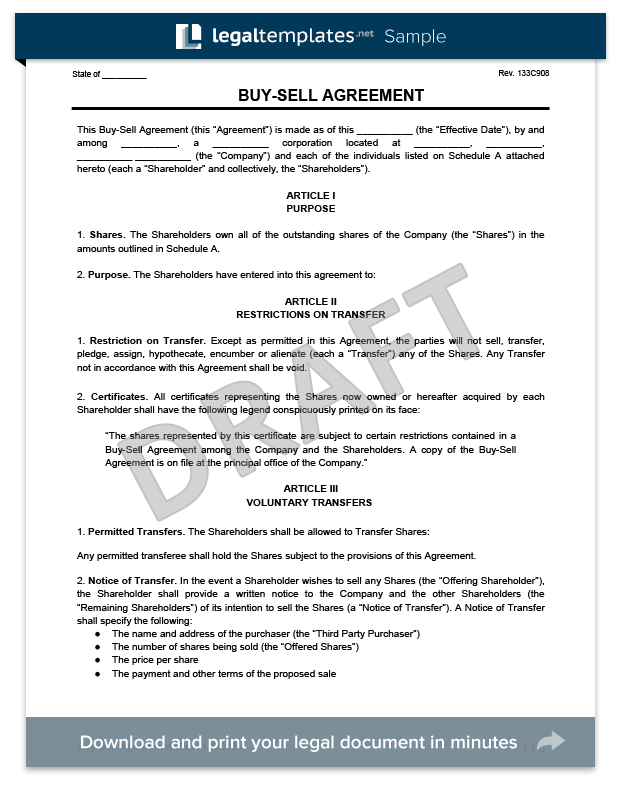 Buy Sell Agreement Template Free