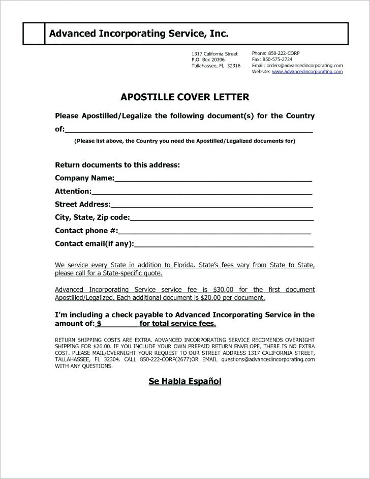 California Apostille Cover Letter Sample