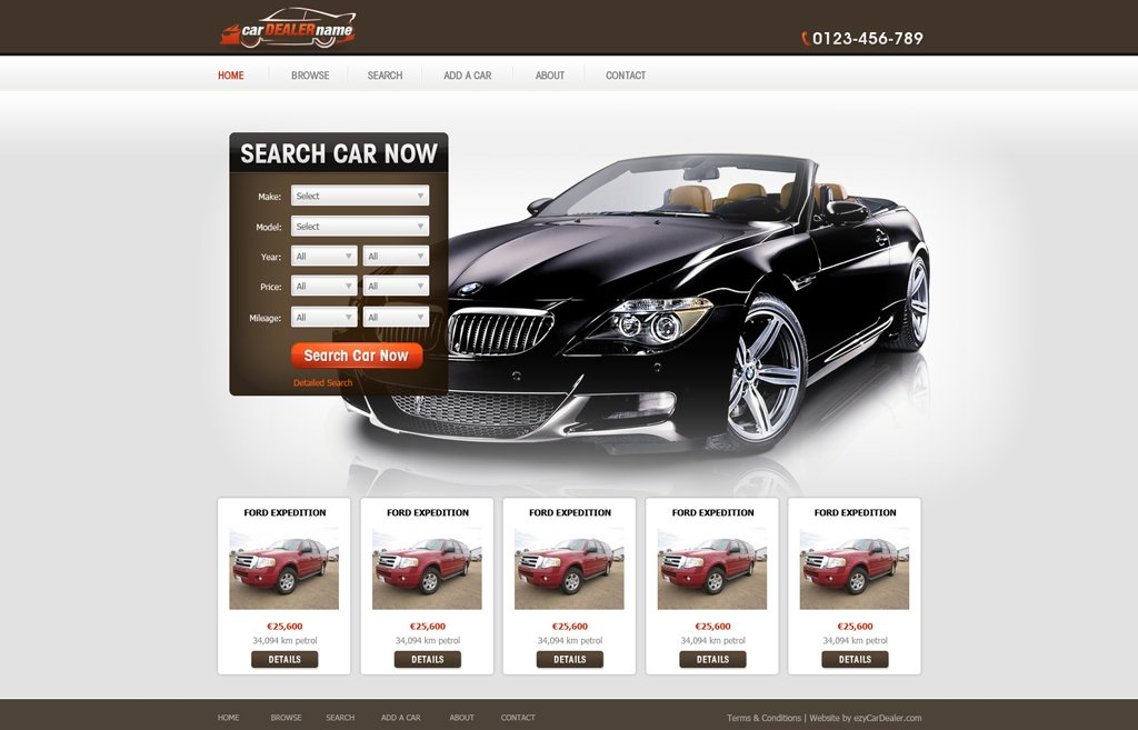 Car Dealer Website Template Free
