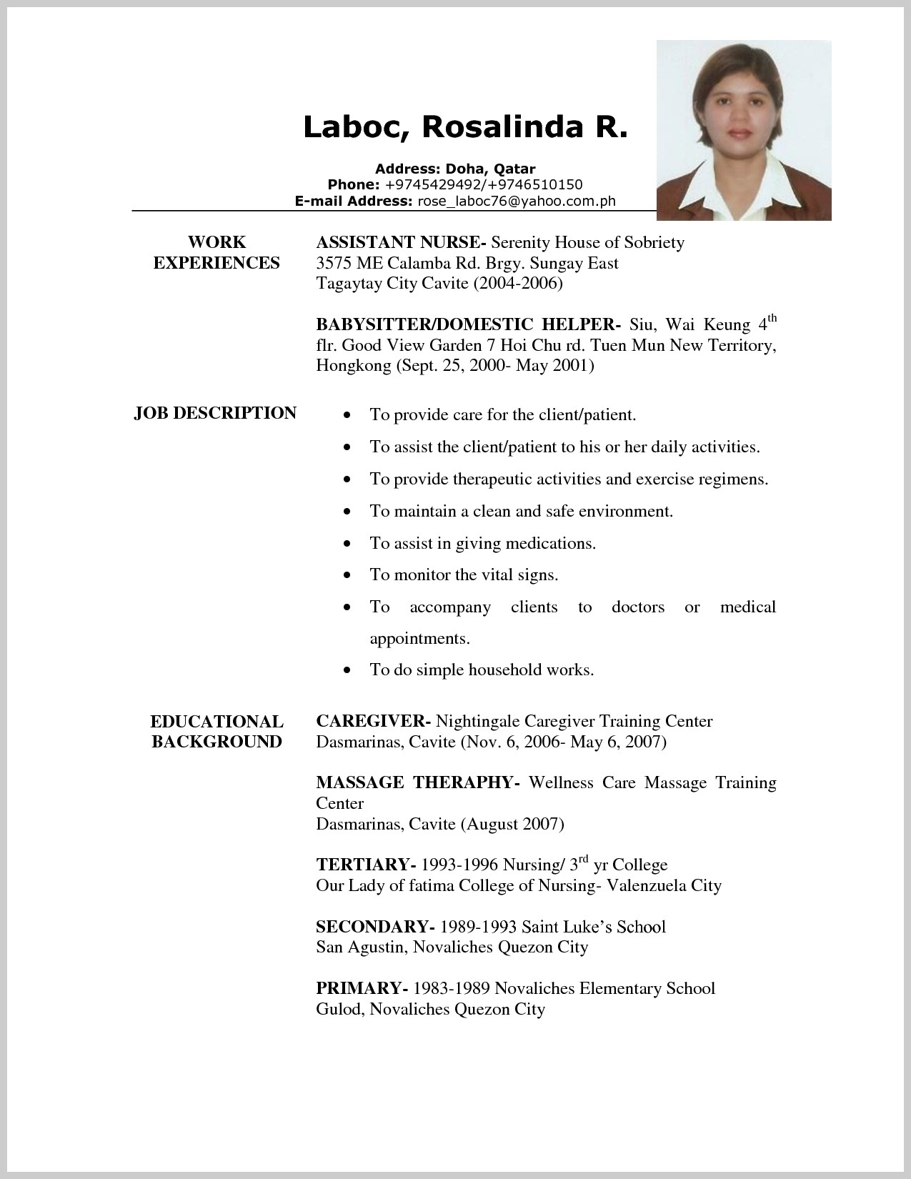 Caregiver Resume Samples Free 212625 Unfor Table Caregiver Resume Examples To Stand Out Nanny Resume