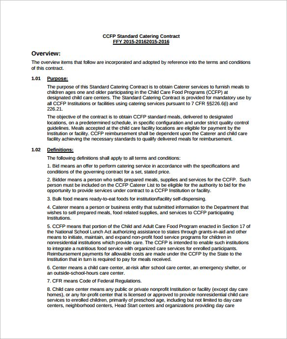 Catering Services Contract Template