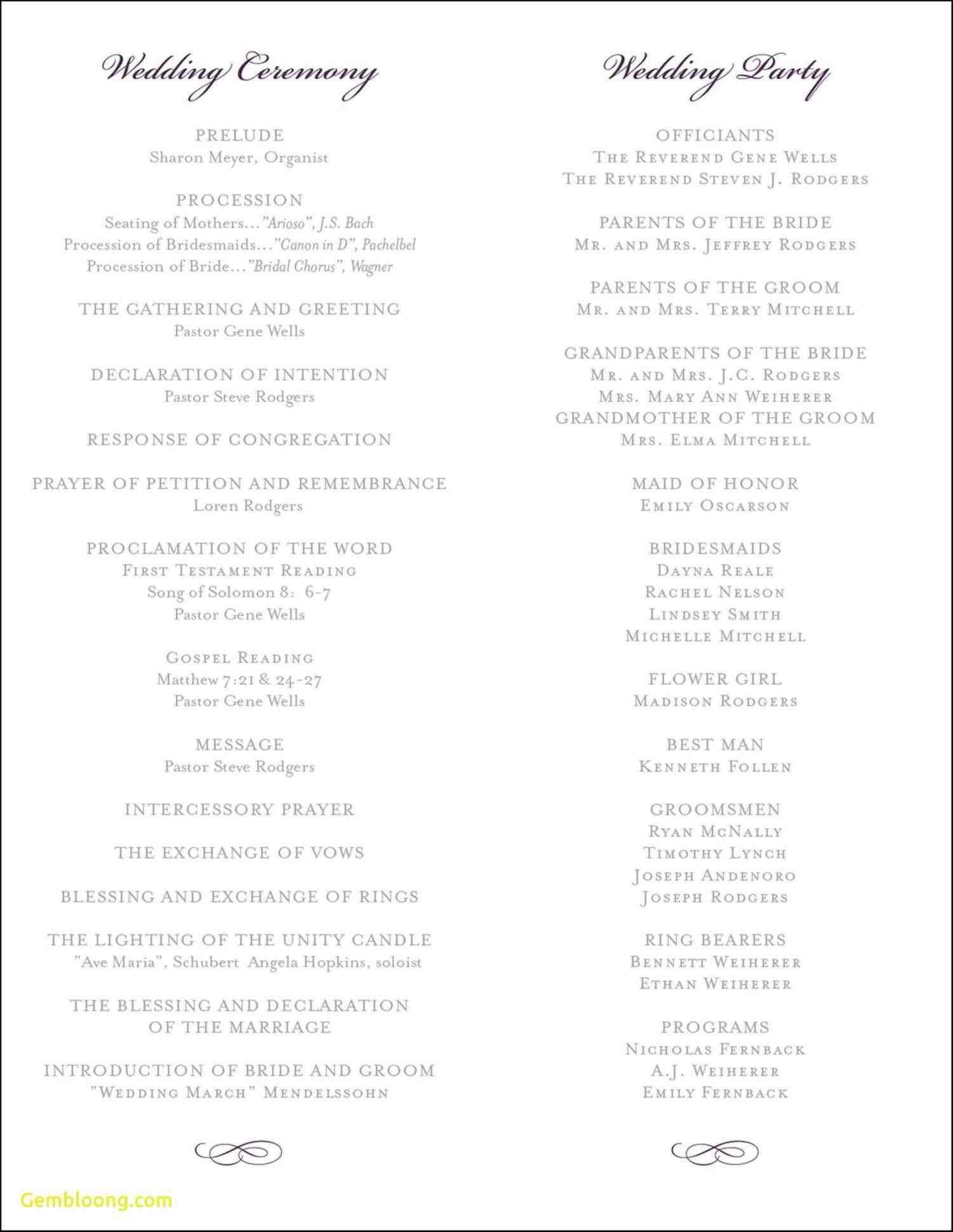 Catholic Wedding Ceremony Program Template