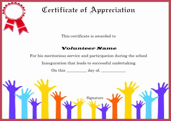 Certificate Of Appreciation For Volunteers Templates