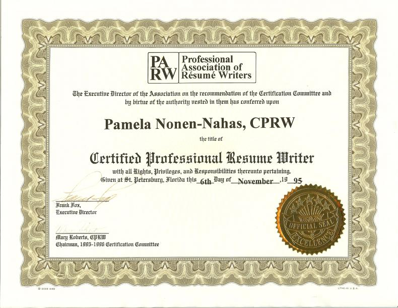 Certified Professional Resume Writer Cprw