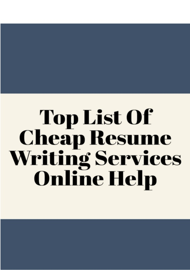 Cheap Resume Writing Services Online