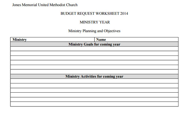 Church Budget Request Form Template