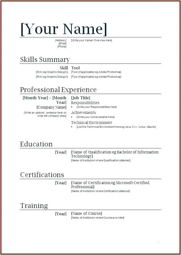 Completely Free Resume Builder And Download
