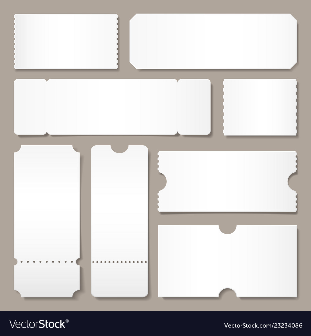 Blank Ticket Template. Festival Concert Tickets, White Paper Coupon Card Layout And Cinema Admit One Sheet Isolated Vector Mockup
