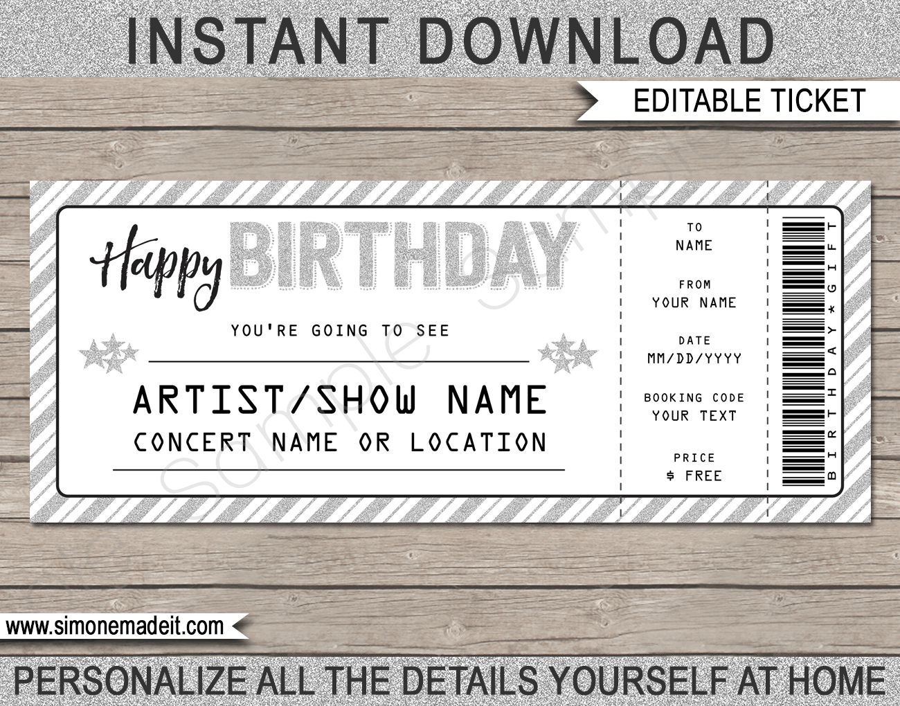 Concert Ticket Template Printable