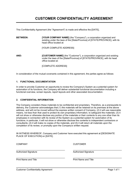 Confidentiality Agreement Template Pdf