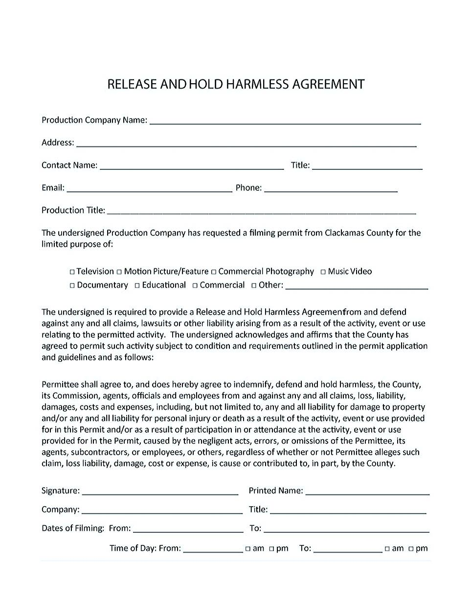Construction Hold Harmless Agreement Template