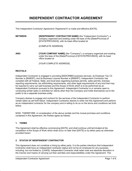 Contractor Contract Agreement Template