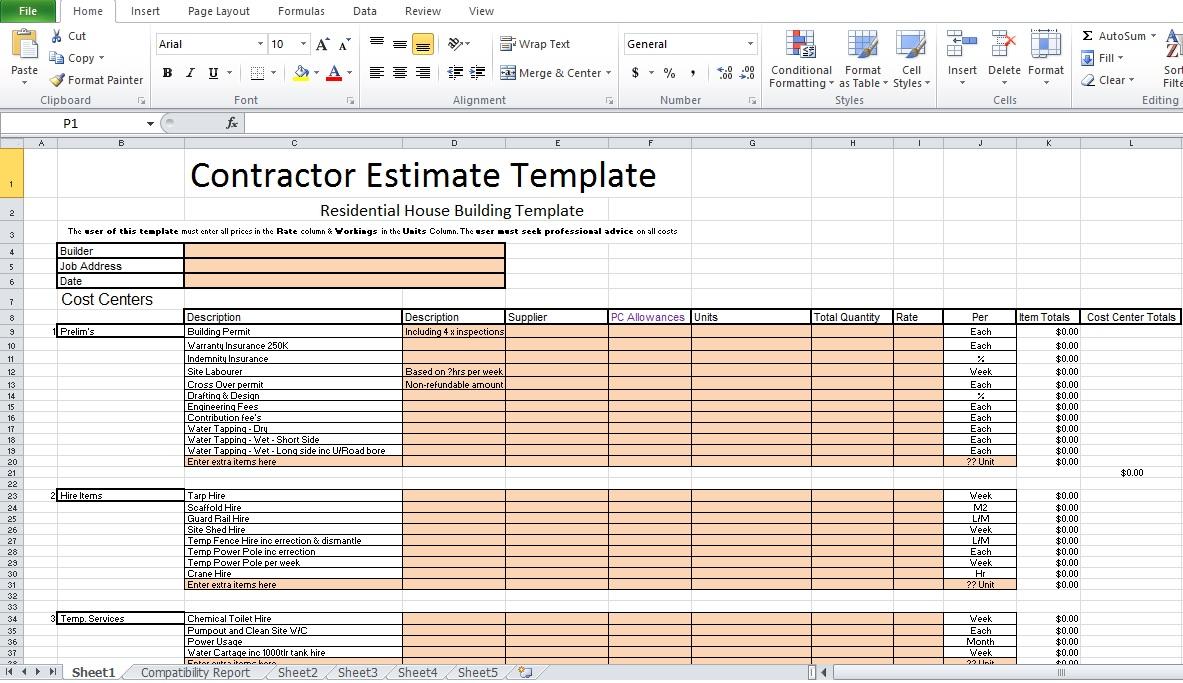 Contractor Estimate Template Excel