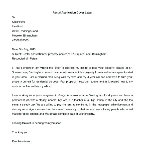 Cover Letter For Rental Application Template