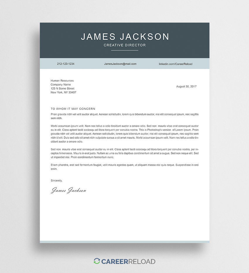 Cover Letter Templates Free Download