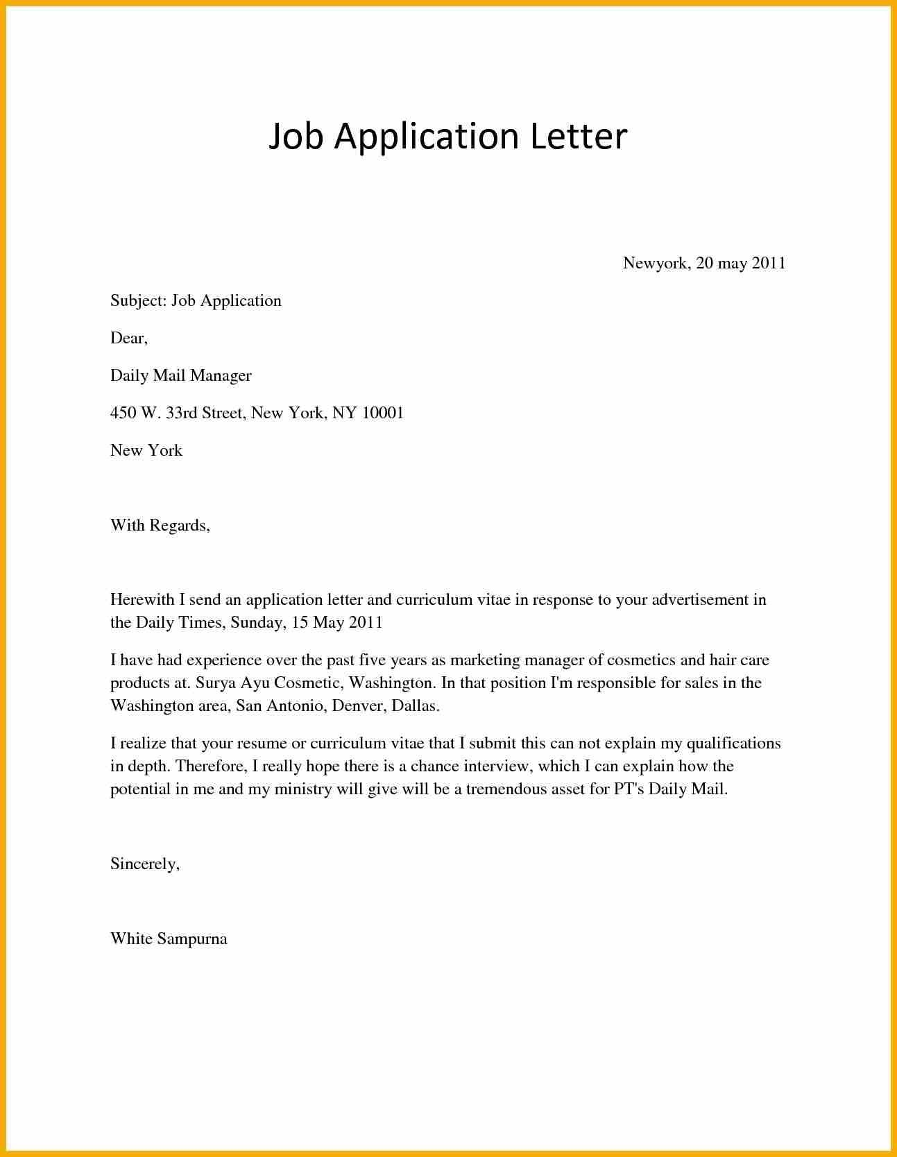 Covering Letter For Job Vacancy